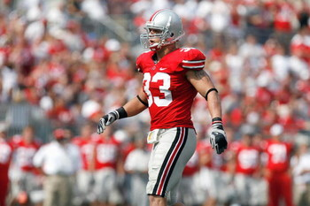 COLUMBUS, OH - SEPTEMBER 20:  James Laurinaitis #33 of the Ohio State Buckeyes walks on the field during the game against the Troy Trojans on September 20, 2008 at Ohio Stadium in Columbus, Ohio. Ohio State won the game 28-10. (Photo by Gregory Shamus/Get