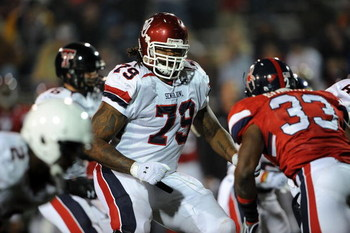 MOBILE, AL - JANUARY 24:  Phil Loadholt #79 of the North team during the Under Armour Senior Bowl on January 24, 2009 at Ladd-Peebles Stadium in Mobile, Alabama.  (Photo by Ronald Martinez/Getty Images for Under Armour)