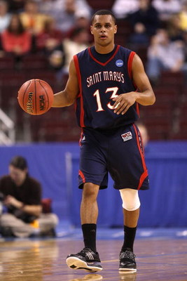 NORTH LITTLE ROCK, AR - MARCH 21:  Patrick Mills #13 of the Saint Mary's Gaels moves the ball against the Miami Hurricanes during the first round of the South Regional as part of the 2008 NCAA Men's Basketball Tournament at Alltel Arena on March 21, 2008 