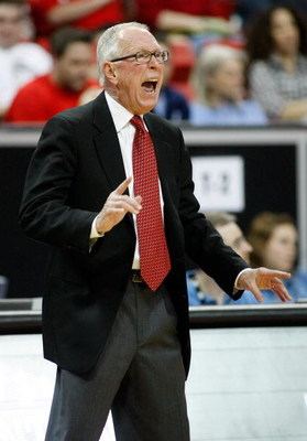 LAS VEGAS - MARCH 13:  Head coach Steve Fisher of the San Diego State Aztecs yells to his players as they take on the Brigham Young University Cougars during a semifinal game of the Conoco Mountain West Conference Basketball Championships at the Thomas &