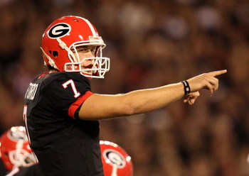 ATHENS, GA - SEPTEMBER 27:  Quarterback Matthew Stafford #7 of the Georgia Bulldogs points out assignments at the line of scrimmage while taking on the Alabama Crimson Tide at Sanford Stadium on September 27, 2008 in Athens, Georgia. Alabama defeated Geor