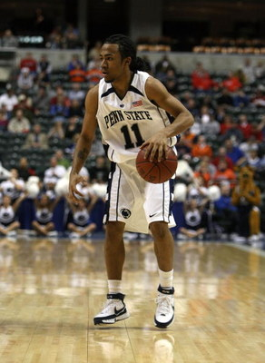 INDIANAPOLIS - MARCH 13:  Stanley Pringle #11 of the Penn State Nittany Lions dribbles the ball against the Illinois Fighting Illini during the Big Ten Men's Basketball Tournament at Conseco Fieldhouse on March 13, 2008 in Indianapolis, Indiana. Illionis