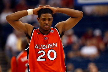 TAMPA, FL - MARCH 14:  Frankie Sullivan #20 of the Auburn Tigers reacts during the final moments of the  94-85 loss to the Tennessee Volunteers during the Semifinal round of the SEC Men's Basketball Tournament on March 14, 2009 at The St. Pete Times Forum