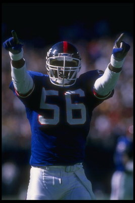 24 Sep 1989:  Linebacker Lawrence Taylor of the New York Giants celebrates during a game against the Phoenix Cardinals at Giants Stadium in East Rutherford, New Jersey.  The Giants won the game, 35-7. Mandatory Credit: T. G. Higgins  /Allsport
