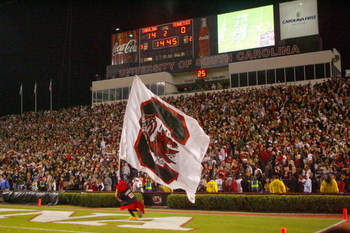 COLUMBIA - NOVEMBER 1:  A general view of the South Carolina Gamecocks mascot running the flag on the field during the game against the Tennessee Volunteers at Williams-Brice Stadium on November 1, 2008 in Columbia, South Carolina. (Photo by: Streeter Lec