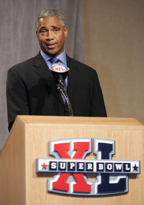 DETROIT - FEBRUARY 02:  Former NFL Rookie of the Year Mike Haynes speaks during the Diet Pepsi Rookie of the Year Press Conference prior to Super Bowl XL February 2, 2006 at the Ambassador Ballroom of the Renaissance Center in Detroit, Michigan.   (Photo
