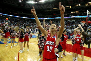 RALEIGH, NC - MARCH 21:  Stephen Curry #30 of the Davidson Wildcats celebrates after a 82-76 victory over the Gonzaga Bulldogs during the 1st round of the 2008 NCAA Men's Basketball Tournament on March 21, 2008 at RBC Center in Raleigh, North Carolina.  (