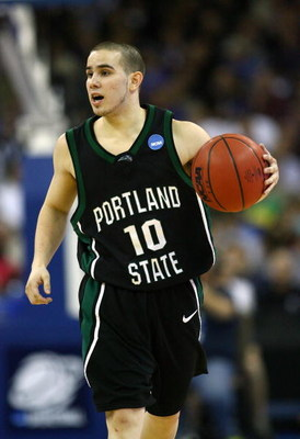 OMAHA, NE - MARCH 20:  Jeremiah Dominguez #10 of the Portland State Vikings brings the ball up court against the Kansas Jayhawks during the Midwest Region first round of the 2008 NCAA Men's Basketball Tournament on March 20, 2008 at the Qwest Center in Om