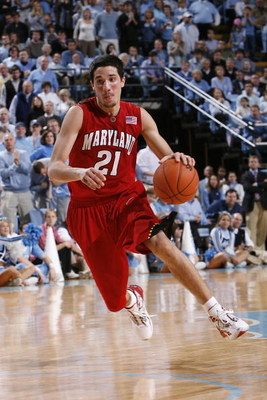 CHAPEL HILL, NC - JANUARY 19:  Greivis Vasquez #21 of the Maryland Terrapins moves the ball during the college basketball game against the North Carolina Tar Heels at Dean E. Smith Center on January 19, 2008 in Chapel Hill, North Carolina. Maryland defeat