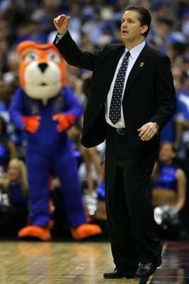 SAN ANTONIO - APRIL 07:  Head coach John Calipari of the Memphis Tigers calls out from the sideline while coaching against the Kansas Jayhawks during the 2008 NCAA Men's National Championship game at the Alamodome on April 7, 2008 in San Antonio, Texas.