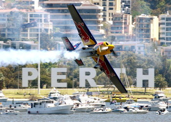 PERTH, AUSTRALIA - NOVEMBER 04: Peter Besenyei of Team Red Bull competes in the elimination final during the Red Bull Air Race held on the Swan River November 4, 2007 in Perth, Australia.  (Photo by Paul Kane/Getty Images)
