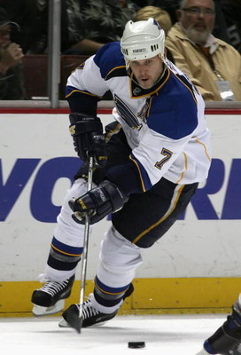 ANAHEIM, CA - NOVEMBER 05:  Keith Tkachuk #7 of the St. Louis Blues skates with the puck during the NHL game against the Anaheim Ducks at Honda Center on November 5, 2008 in Anaheim, California. The Ducks defeated the Blues 5-2.  (Photo by Christian Peter