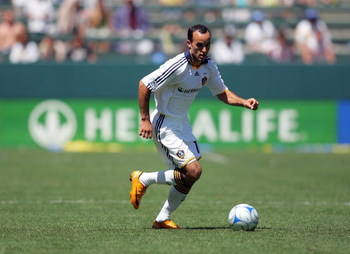 CARSON, CA - APRIL 13:  Landon Donovan #10 o the Los Angeles Galaxy paces the ball near midfield on the attack in the second half against Toronto FC during their MLS game at the Home Depot Center on April 13, 2008 in Carson, California. Toronto FC defeate