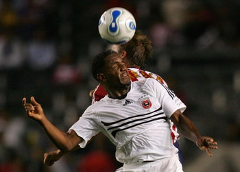 CARSON, CA - SEPTEMBER 06:  Luciano Emilio #11 of D.C. United wins a header from Jesse Marsch #15 of CD Chivas USA in the second half during their MLS match at the Home Depot Center on September 6, 2007 in Carson, California. D.C. United and Chivas USA pl