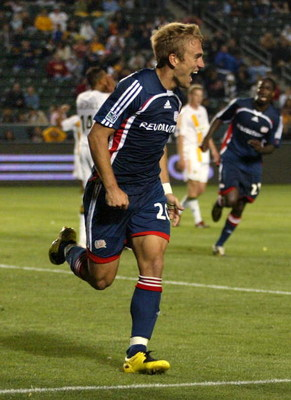 CARSON, CA - MAY 12:  Taylor Twellman #20 of the New England Revolution celebrates after scoring the go-ahead and eventual game-winning goal seconds after the Los Angeles Galaxy tied the game at 2-2 late in the second half of their MLS match at The Home D