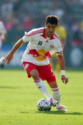 CARSON, CA - NOVEMBER 23:  Juan Pablo Angel #9 of the New York Red Bulls controls the ball on the attack in the first half of their 2008 MLS Cup match against the Columbus Crew at The Home Depot Center on November 23, 2008 in Carson, California. The Crew 