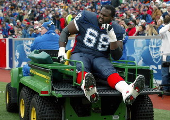 ORCHARD PARK, NY - NOVEMBER 27:  Mike Williams #68 of the Buffalo Bills exits the field injured on the trainer's cart during the NFL game with the Carolina Panthers on November 27, 2005 at Ralph Wilson Stadium in Orchard Park, New York. The Panthers won 9