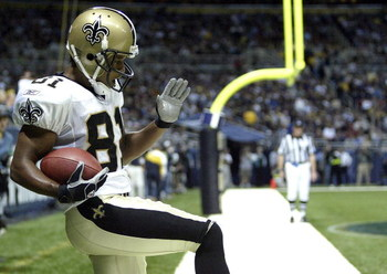 ST. LOUIS - OCTOBER 23:  Az-Zahir Hakim #81 of the New Orleans Saints celebrates a touchdown against the St. Louis Rams on October 23, 2005 at the Edward Jones Dome in St. Louis, Missouri.  (Photo by Dilip Vishwanat/Getty Images)