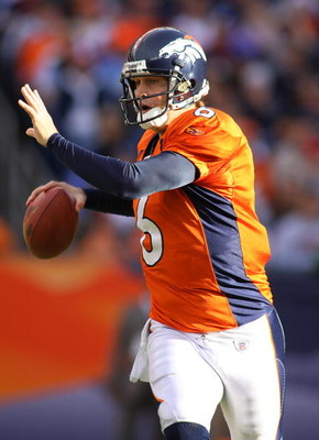 DENVER - DECEMBER 7: Quarterback Jay Cutler #6 of the Denver Broncos looks to pass downfield against the Kansas City Chiefs during the first quarter of week 14 NFL action at Invesco Field at Mile High on December 7, 2008 in Denver, Colorado.(Photo by Marc