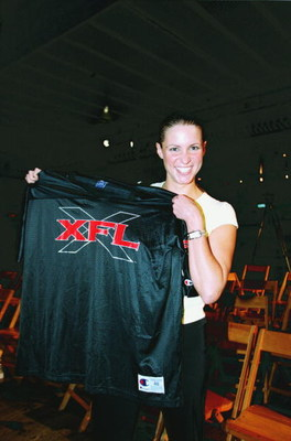 12 Jul 2000: Stephanie McMahon poses with a XFL jersey during the XFL Press Conference at the House of Blues in Los Angeles, California.Mandatory Credit: Tom Hauck  /Allsport