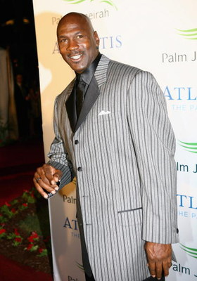 DUBAI, UNITED ARAB EMIRATES - NOVEMBER 20:  Former Basketball player Michael Jordan attends the landmark Grand Opening of Atlantis, The Palm Resort, and the Palm Jumeirah on November 20, 2008 in Dubai, United Arab Emirates.  (Photo by Clive Brunskill/Gett