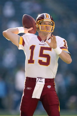 SEATTLE - NOVEMBER 23:  Quarterback Todd Collins #15 of the Washington Redskins warms up before the game against the Seattle Seahawks on November 23, 2008 at Qwest Field in Seattle, Washington. (Photo by Otto Greule Jr/Getty Images)