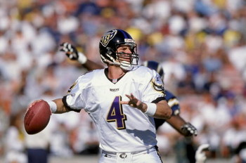 15 Nov 1998: Jim Harbough #4 of the Baltimore Ravens throws the ball during the game against the San Diego Chargers at Qualcomm Stadium in San Diego, California. The Chargers defeated the Ravens 14-13. Mandatory Credit: David Taylor  /Allsport
