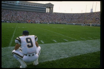 1989:  Quarterback Jim McMahon of the San Diego Chargers looks on during a game against the Chicago Bears at Soldier Field in Chicago, Illinois. Mandatory Credit: Jonathan Daniel  /Allsport