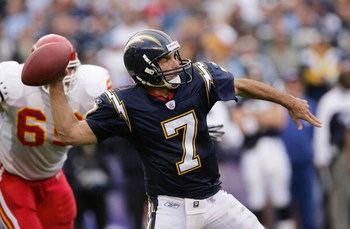 SAN DIEGO, CA - JANUARY 2: Doug Flutie #7 of the San Diego Chargers throws a pass against the Kansas City Chiefs on January 2, 2005 at Qualcomm Stadium in San Diego, California. (Photo by Stephen Dunn/Getty Images)