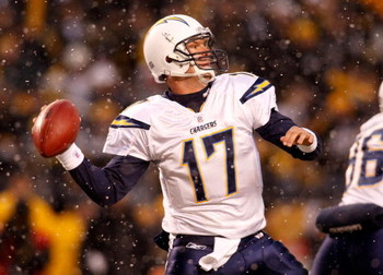 PITTSBURGH - JANUARY 11:  Philip Rivers #17 of the San Diego Chargers throws a pass against the Pittsburgh Steelers during their AFC Divisional Playoff Game on January 11, 2009 at Heinz Field in Pittsburgh, Pennsylvania.  (Photo by Chris Graythen/Getty Im