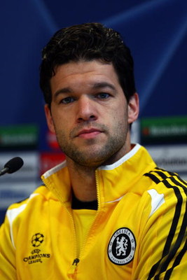 TORINO, ITALY - MARCH 09:  Michael Ballack of Chelsea speaks to the media during the Press Conference at Stadio Olimpico di Torino on March 9, 2009 in Turin, Italy. Juventus and Chelsea will play the UEFA Champions League first knock-out round second leg