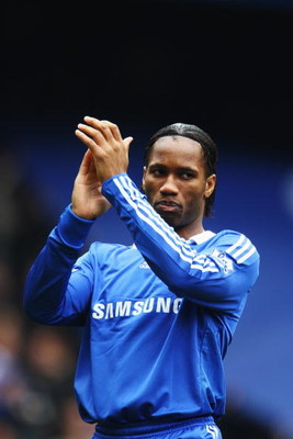 LONDON - FEBRUARY 28:  Didier Drogba of Chelsea applauds his sides fans before the Barclays Premier League match between Chelsea and Wigan Athletic at Stamford Bridge on February 28, 2009 in London, England.  (Photo by Phil Cole/Getty Images)