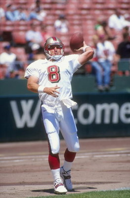 2 Aug 1998:  Quarterback Steve Young #8 of the San Francisco 49ers in action during a pre-season game against the New England Patriots at the 3Com Park in San Francisco, California. The 49ers defeated the Patriots 14-13.