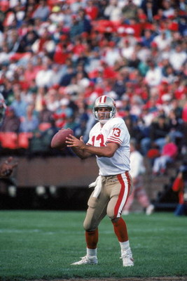 AUGUST 3:  Quarterback Steve Bono #13 of the San Francisco 49ers looks to pass against the Denver Broncos during a preseason game on August 3, 1992.  The 49ers won 13-7.  (Photo by George Rose/Getty Images)