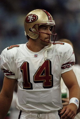 15 Aug 1998:  Quarterback Jim Druckenmiller #14 of the San Francisco 49ers looks on during the American Bowl Game against the Seattle Seahawks at the B. C. Place in Vancouver, B. C., Canada. The 49ers defeated the Seahawks 24-21. Mandatory Credit: Otto Gr