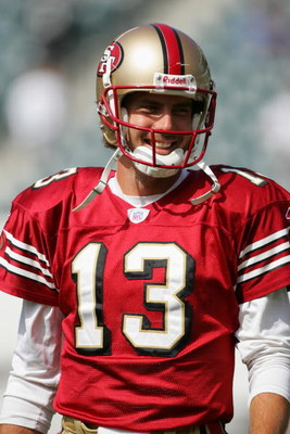 PHILADELPHIA - SEPTEMBER 18:  Quaterback Tim Rattay #13 of the San Francisco 49ers warms-up for the game against the Philadelphia Eagles on September 18, 2005 at Lincoln Financial Field in Philadelphia, Pennsylvania.  The 49ers won 49-3.  (Photo by Jamie