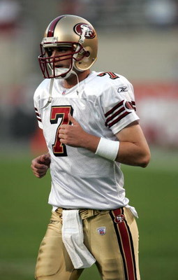 SAN DIEGO, CA - DECEMBER 12:  Quarterback Ken Dorsey #7 of the San Francisco 49ers jogs during the game against the Arizona Cardinals on December 12, 2004 at Sun Devil Stadium in Tempe, Arizona.  The 49ers won in overtime 31-28.  (Photo by Stephen Dunn/Ge
