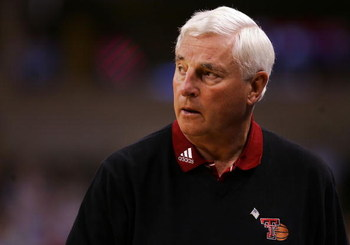 WINSTON-SALEM, NC - MARCH 15:  Head coach Bob Knight of the Texas Tech Red Raiders reacts from the sideline against the Boston College Eagles during the First Round of the 2007 NCAA Men's Basketball Tournament at Lawrence Joel Veterans Memorial Coliseum o