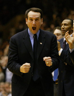 19 Jan 02:  Duke Head Coach Mike Krzyzewski celebrates a three-point play by his team during the second half of the Wake Forest Demon Deacons v Duke Blue Devils game at Cameron Indoor Stadium in Durham, North Carolina.  Digital Image. Mandatory Credit: Cr