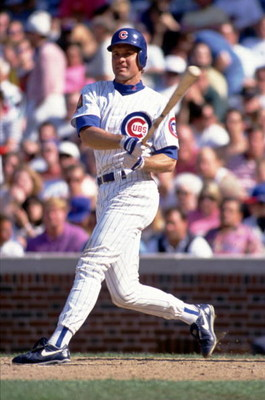 CHICAGO - MAY 20:  Second Baseman Ryne Sandberg of the Chicago Cubs makes contact with a pitch during a game against the San Francisco Giants at Wrigley Field on May 20, 1994 in Chicago, Illinois. (Photo by Jonathan Daniel/Getty Images)