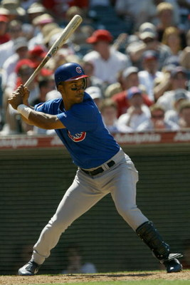 ANAHEIM, CA - JUNE 13:  Moises Alou #18 of the Chicago Cubs ready at bat during the game against the Anaheim Angels on June 13, 2004 at Angel Stadium in Anaheim, California.  The Cubs won 6-5.  (Photo by Stephen Dunn/Getty Images)