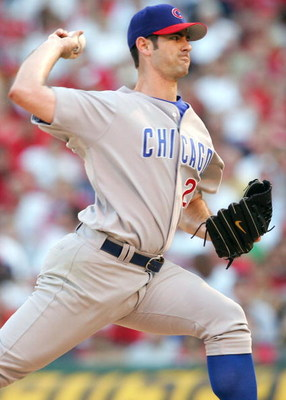 ST. LOUIS - JULY 24:  Mark Prior #22 of the Chicago Cubs delivers a pitch in the first inning against the St. Louis Cardinals on July 24, 2005 at Busch Stadium in St. Louis, Missouri.  (Photo by Elsa/Getty Images)