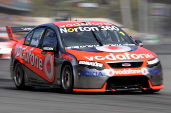ADELAIDE, AUSTRALIA - MARCH 22:  Jamie Whincup drives the #1 Team Vodafone Ford during race two of the Clipsal 500, which is round one of the V8 Supercar Championship Series, on the Adelaide Street Circuit on March 22, 2009 in Adelaide, Australia.  (Photo