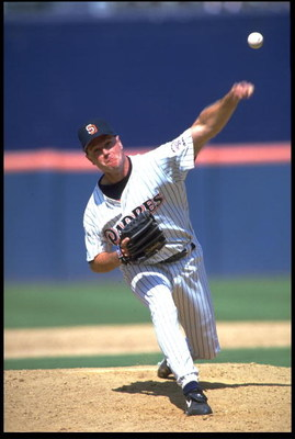 15 Jul 1993: MARK DAVIS, RELIEVER FOR THE SAN DIEGO PADRES, THROWS A PITCH AGAINST THE PHILADELPHIA PHILLIES DURING THE PADRES'' 4-2 WIN AT JACK MURPHY STADIUM IN SAN DIEGO, CALIFORNIA.