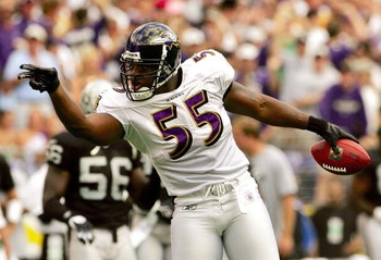 BALTIMORE - SEPTEMBER 17:  Linebacker Terrell Suggs #55 of the Baltimore Ravens gestures to the crowd after recovering a fumble in first quarter against the Oakland Raiders on September 17, 2006 at M&T Bank Stadium in Baltimore, Maryland.  (Photo by Win M