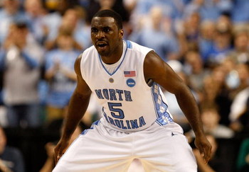 GREENSBORO, NC - MARCH 21:  Ty Lawson #5 of the North Carolina Tar Heels reacts after scoring a basket against the Louisiana State University Tigers during the second round of the NCAA Division I Men's Basketball Tournament at the Greensboro Coliseum on M