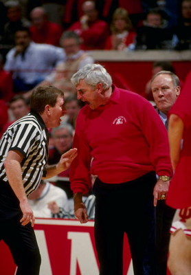 19 Feb 1994:  Coach Bobby Knight of the Indiana Hoosiers argues with an official during a game against the Purdue Boilermakers.  Indiana defeated Purdue 82-80. Mandatory Credit: Gary Mook  /Allsport