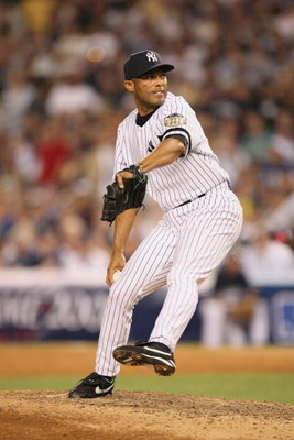 NEW YORK - JULY 15:  Mariano Rivera #42 of the American League All-Stars throws against the National League All-Stars during the 79th MLB All-Star Game at Yankee Stadium on July 15, 2008 in New York, New York. (Photo by Nick Laham/Getty Images)