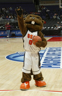 LOS ANGELES - MARCH 11: The Oregon State Beavers mascot performs during the 2005 Pacific Life Pac-10 Men's Basketball Tournament semi final Game 1 against the University of Arizona Wildcats at Staples Center on March 11, 2005 in Los Angeles, California.