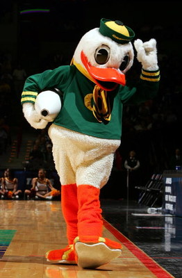 SPOKANE, WA - MARCH 18:  The Oregon Ducks mascot walks the court during a break in action against the Winthrop Eagles during the second round of the NCAA Men's Basketball Tournament on March 18, 2007 at Spokane Memorial Arena in Spokane, Washington.  (Pho